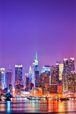 Preview iPhone wallpaper City of New York at night, skyscrapers, buildings, water, lights