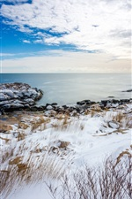 Preview iPhone wallpaper Coast in winter, white snow, sea, stones, grass, clouds
