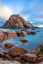 Preview iPhone wallpaper Coast, rocks, sea, blue sky, clouds