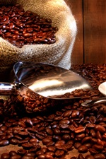 Preview iPhone wallpaper Coffee drinks, cup, saucer, coffee beans