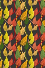 Preview iPhone wallpaper Colorful leaves, autumn, creative pictures