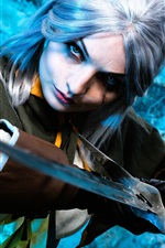 Preview iPhone wallpaper Cosplay girl, The Witcher Hunter, sword