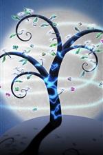 retrato da arte criativa, árvores, borboletas, flores, lua, noite