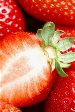 Preview iPhone wallpaper Delicious and juicy strawberries, fruit macro photography
