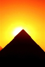 Preview iPhone wallpaper Egypt, Giza, pyramids, sunset, red sky, silhouette