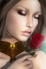 Fantasy girl and rose