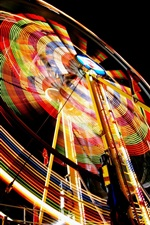Preview iPhone wallpaper Ferris wheel, colorful light, night, entertainment devices