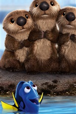 Preview iPhone wallpaper Finding Dory, cute beavers