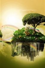 Float islands, sky, trees, grass, deer, rainbow, creative design