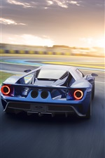 Preview iPhone wallpaper Ford GT II blue supercar back view and speed
