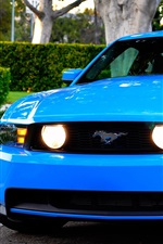 Ford Mustang GT blue car front view