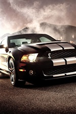 Preview iPhone wallpaper Ford Mustang Shelby GT500 black car front view