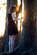 Preview iPhone wallpaper Forest, lonely girl, trees, sun rays