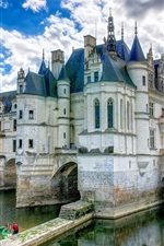 Preview iPhone wallpaper France, castle, water, clouds