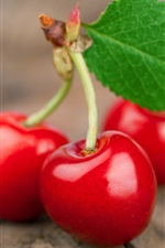 Fresh red cherries macro photography