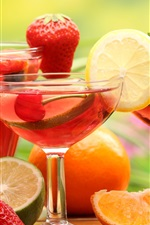 Preview iPhone wallpaper Fruit drinks, glass cups, strawberry, lemon, lime, orange, cherries