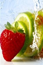 Preview iPhone wallpaper Fruit slices, strawberry, lime, orange, water splash
