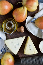 Preview iPhone wallpaper Fruits pears close-up, cheese, butter, wood board