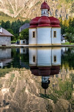 Germany, temple, houses, mountain, lake,water reflection