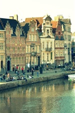 Preview iPhone wallpaper Ghent, Belgium, city view, houses, river, people