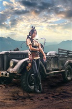 Preview iPhone wallpaper Girl and car, cigarette, steampunk, retro style