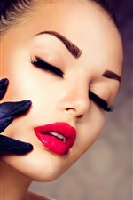 Preview iPhone wallpaper Girl makeup, red lipstick, eyelashes, gloves, diamond ring