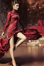 Preview iPhone wallpaper Glamorous girl, red skirt flying, creative space