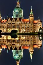 Preview iPhone wallpaper Hannover, Germany, night, house, lights, water reflection