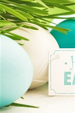 Preview iPhone wallpaper Happy Easter, eggs, blue, white, grass