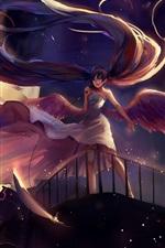 Preview iPhone wallpaper Hatsune Miku, long hair anime girl, microphone, wings, angel