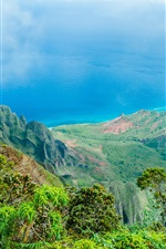 Preview iPhone wallpaper Hawaii beautiful nature landscape, blue sea, mountains, trees