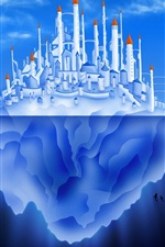 Preview iPhone wallpaper Iceberg, castle, city, blue sea, creative pictures