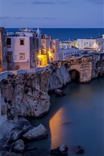 Preview iPhone wallpaper Italy, Adriatic Sea, Vieste, city, night, houses, lights