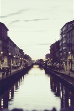 Preview iPhone wallpaper Italy Milan, canal, houses, dusk