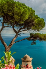 Preview iPhone wallpaper Italy, Ravello, blue sea, boat, mountains, trees