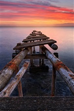 Preview iPhone wallpaper Italy, Tuscany, sea, old pier, sunset, red sky