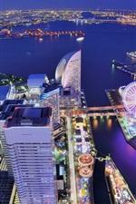 iPhone fondos de pantalla Japón, Yokohama, ciudad, metrópoli, edificios, casas, noria, bahía, noche