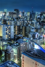 Preview iPhone wallpaper Japan night city, houses, buildings, lights, traffic