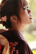 Preview iPhone wallpaper Japanese girl back view, kimono