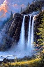 미리보기 iPhone 배경 화면 제시 반스 아트 그림, 풍경, 폭포, 나무, 곰