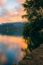 Lake Bled, Slovenia, mountains, trees, clouds, sunset
