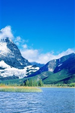 Lake, snowy mountains, blue sky, clouds