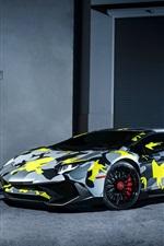 Preview iPhone wallpaper Lamborghini Aventador LP750-4 SV supercar, camouflage colors