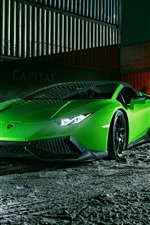 Preview iPhone wallpaper Lamborghini Huracan Spyder green supercar front view, night, dock