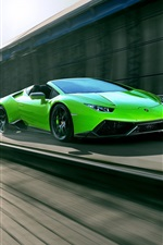 Preview iPhone wallpaper Lamborghini Huracan Spyder green supercar high speed