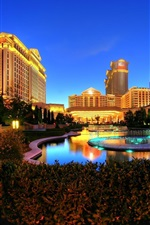 Preview iPhone wallpaper Las Vegas, night, lights, Caesars Palace, entertainment complex