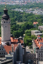 Preview iPhone wallpaper Leipzig Rathaus, Germany, houses, trees, city