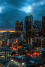 Preview iPhone wallpaper Los Angeles, California, USA, skyscrapers, lights, evening, clouds, sunset