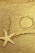 Preview iPhone wallpaper Love beach, sands, starfish
