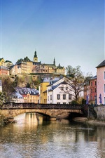 Preview iPhone wallpaper Luxembourg, houses, bridge, river, trees